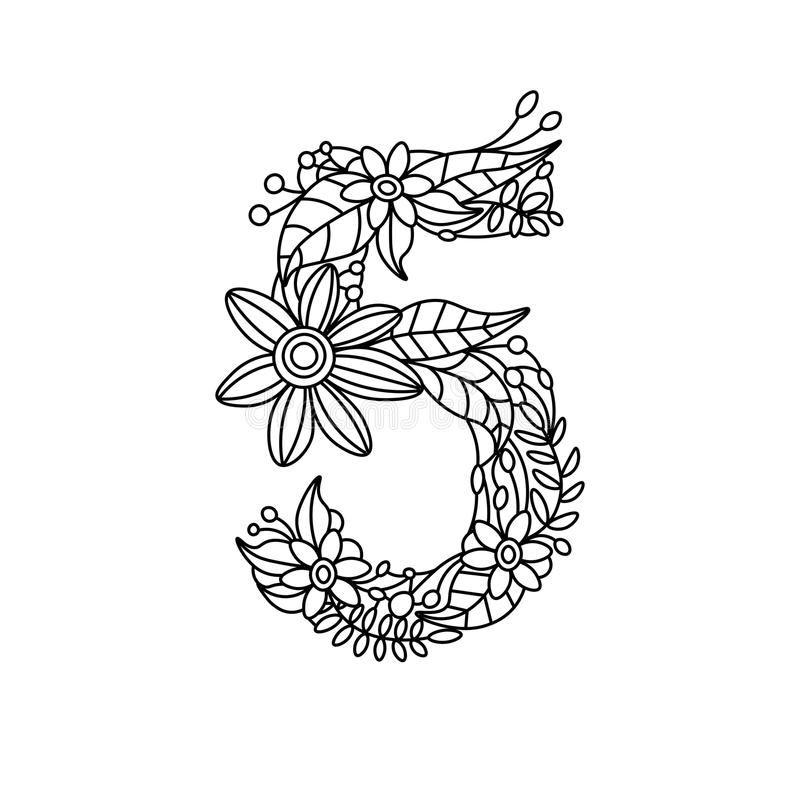 Download Number 5 Coloring Book For Adults Vector Stock