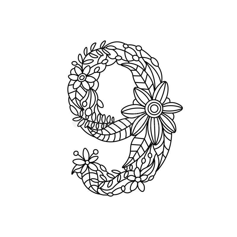 Number 9 Coloring Book For Adults Vector Stock Vector - Illustration ...