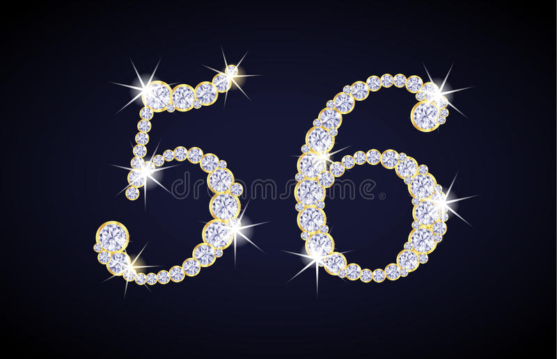 Number 5 and 6 composed from diamonds with golden vector illustration