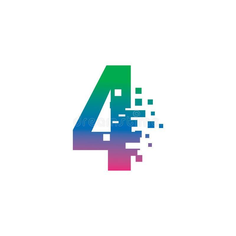 NUMBER 4 con concetto di gradiente del logo digitale pixel illustrazione di stock