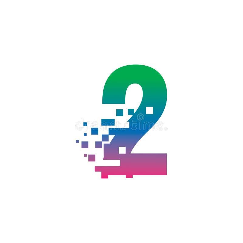 NUMBER 2 con concetto di gradiente del logo digitale pixel illustrazione di stock
