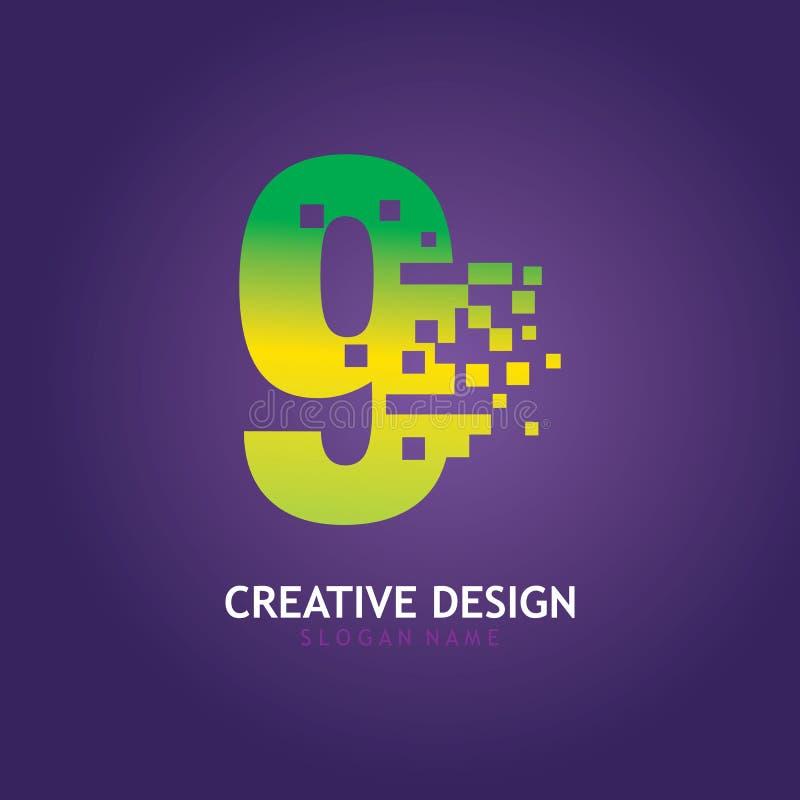 NUMBER 9 con modello di progettazione del logo digitale Pixel royalty illustrazione gratis
