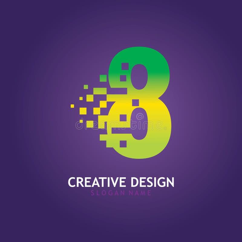 NUMBER 8 con modello di progettazione del logo digitale Pixel illustrazione vettoriale