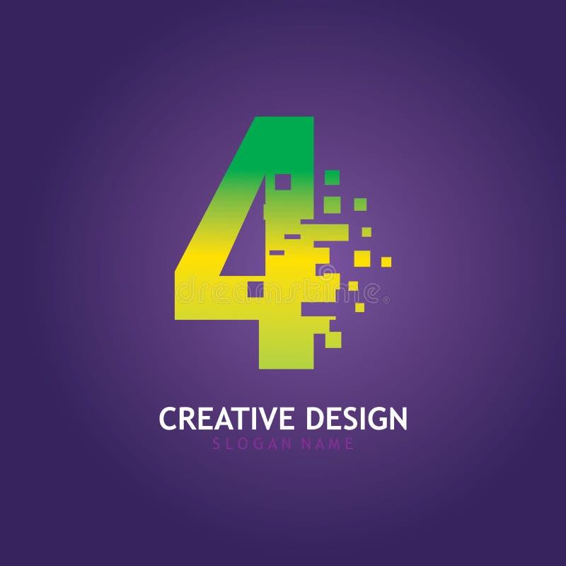 NUMBER 4 con modello di progettazione del logo digitale Pixel illustrazione di stock