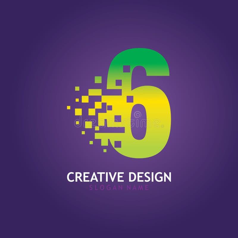 NUMBER 6 con modello di progettazione del logo digitale Pixel illustrazione di stock