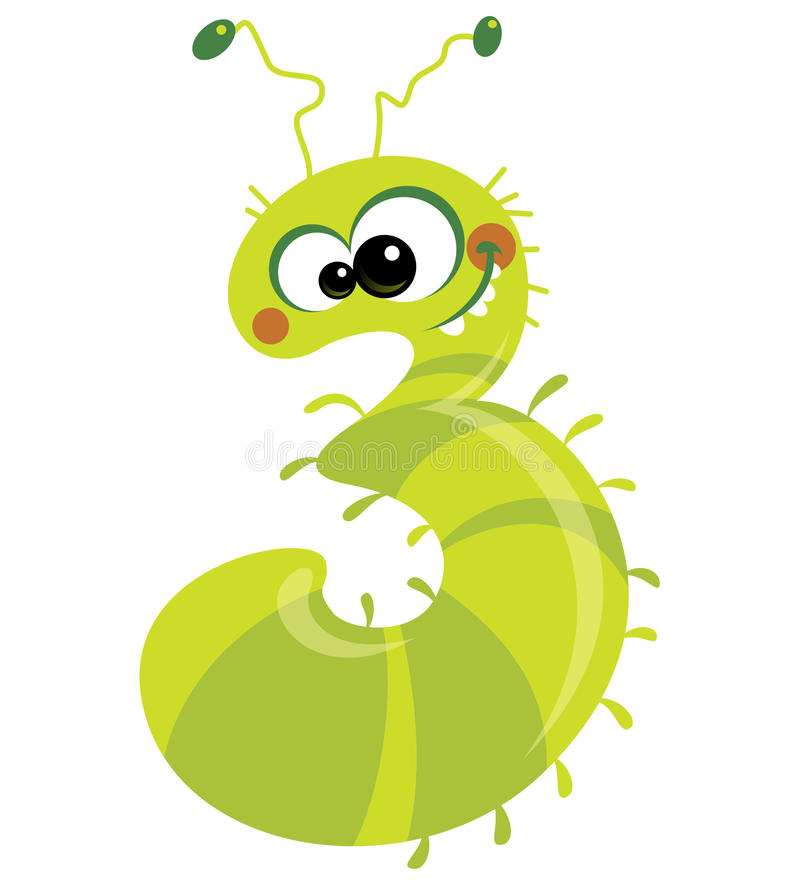 Number 3 Crazy Caterpillar Stock Images