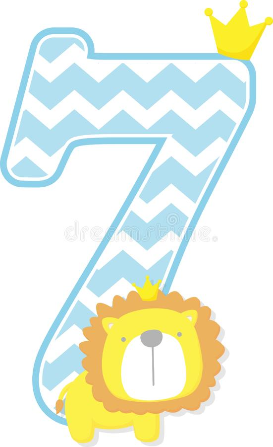 Number 7 with cute lion king and chevron pattern. Number 7 with chevron pattern. cute little lion king isolated on white background. can be used for father`s day stock illustration
