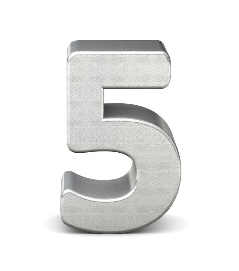 5 number 3d silver structure. 3d rendering stock illustration