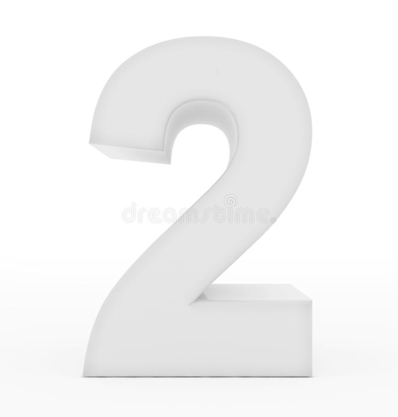 Number 2 3d white isolated on white vector illustration