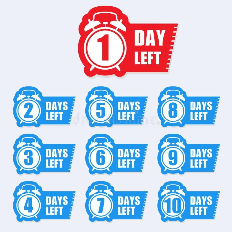 Number of days left badge for sale or promotion sale label stock illustration