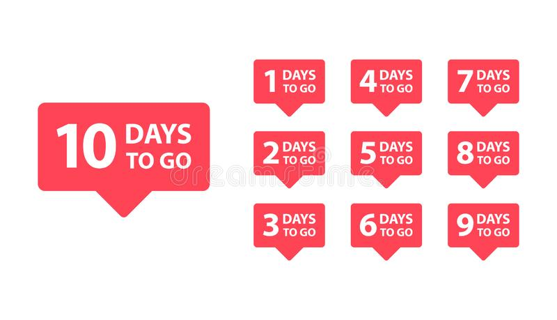 Number 1, 2, 3, 4, 5, 6, 7, 8, 9, 10, of days left to go. Collection badges sale, landing page, banner vector illustration