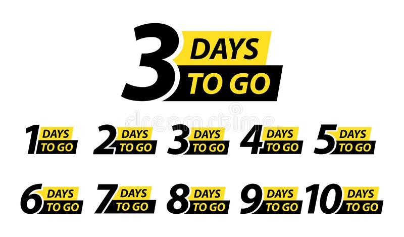 Number 1, 2, 3, 4, 5, 6, 7, 8, 9, 10, of days left to go. Collection badges sale, landing page, banner. Vector illustration royalty free illustration