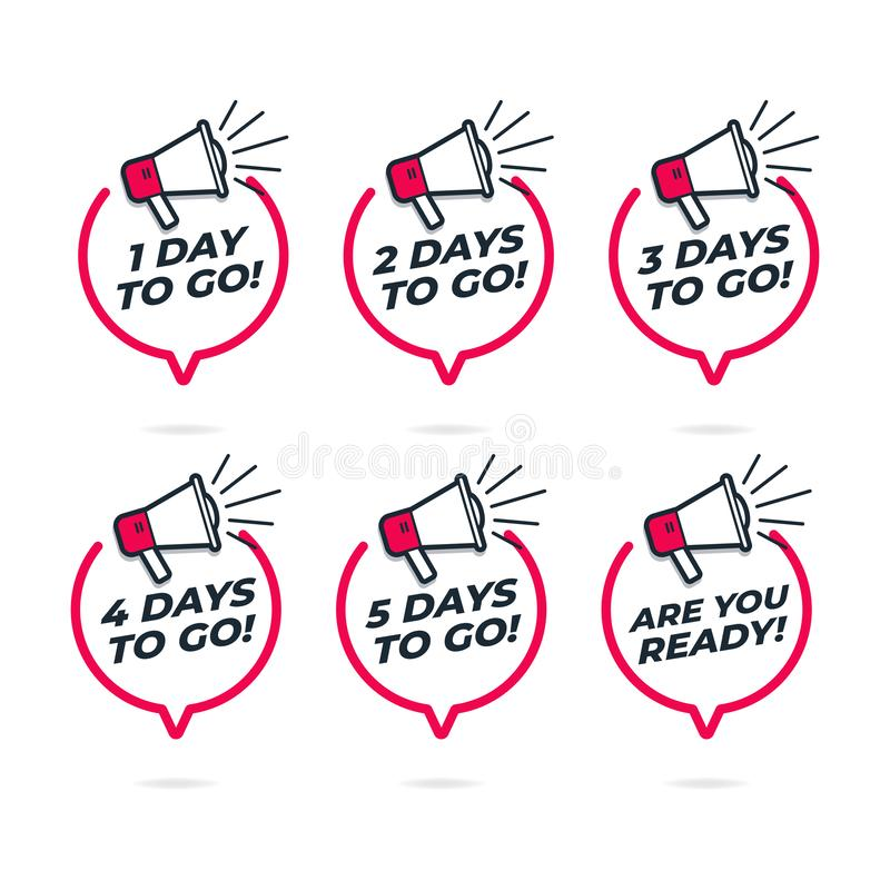 Number of days left to go, Loudspeaker with speech bubble. Vector vector illustration