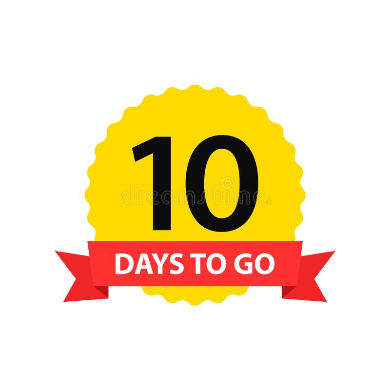 Number 10 of days to go. Collection badges sale, landing page, banner.Vector illustration stock illustration