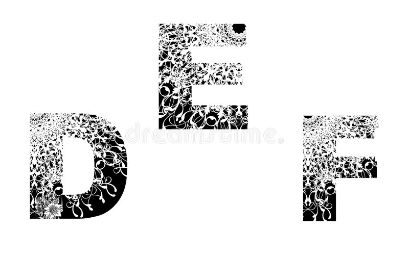 Number Design Element With Floral Texture D-E-F Stock Photo