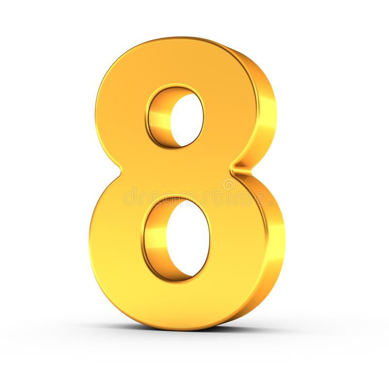 The number eight as a polished golden object with clipping path royalty free stock photos