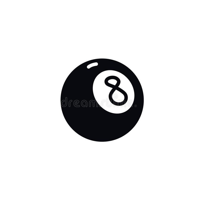 Number eight billiard ball icon. Vector. Illustration of a magic ball. Cartoon sign, symbol.  stock illustration