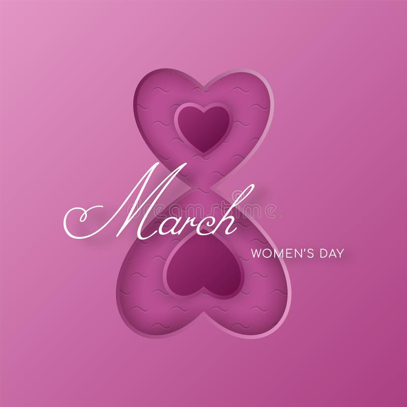 The number eight consists of two connected hearts. Congratulations on the International Women`s Day March 8. vector illustration