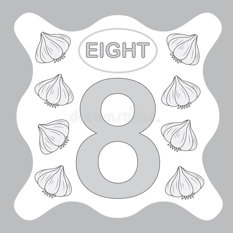 Number 8 eight, educational card, learning counting royalty free illustration