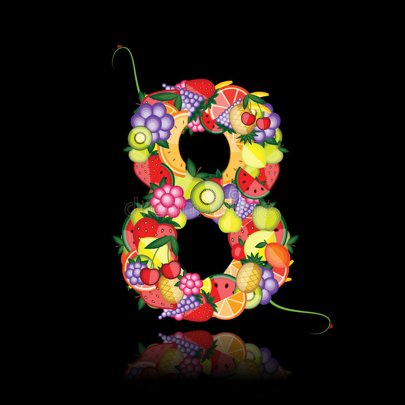 Number eight made from fruits.
