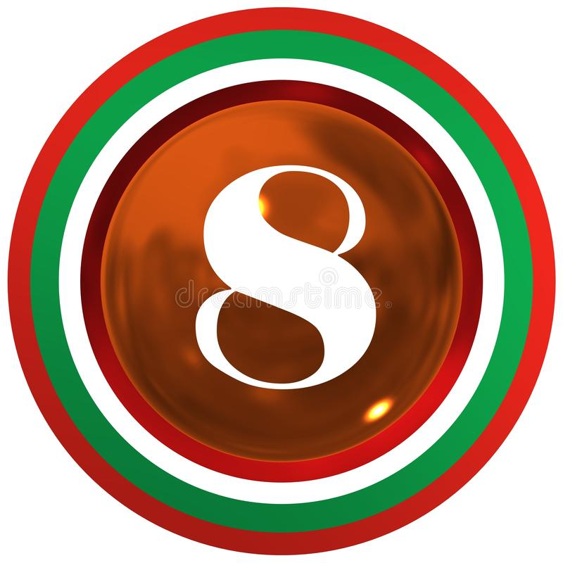 Number eight over cooper bright sphere with circles stock illustration