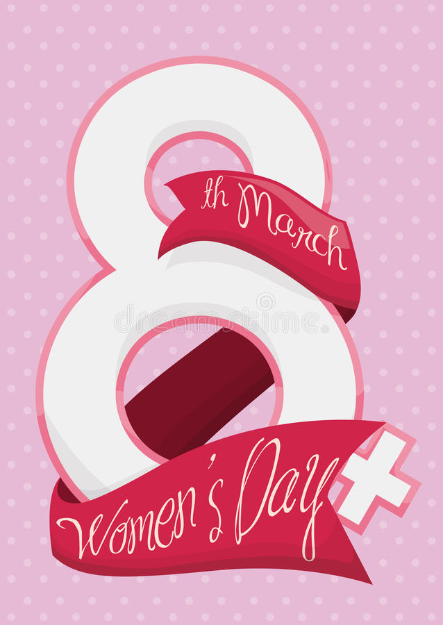 Number Eight with Ribbons Around it for Women's Day, Vector Illustration royalty free stock image