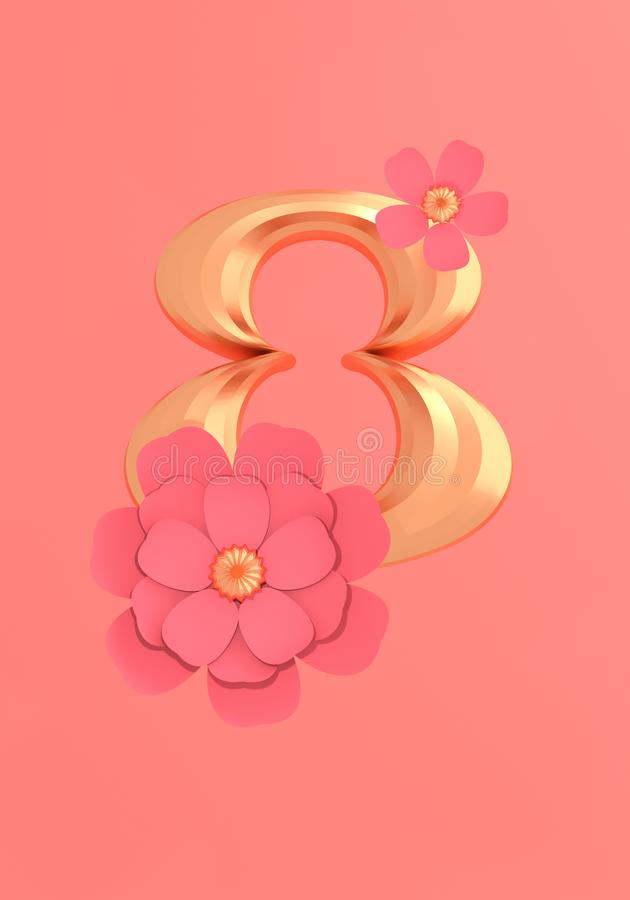 Number eight with two flowers on living coral background 3D illustration with copy space stock illustration