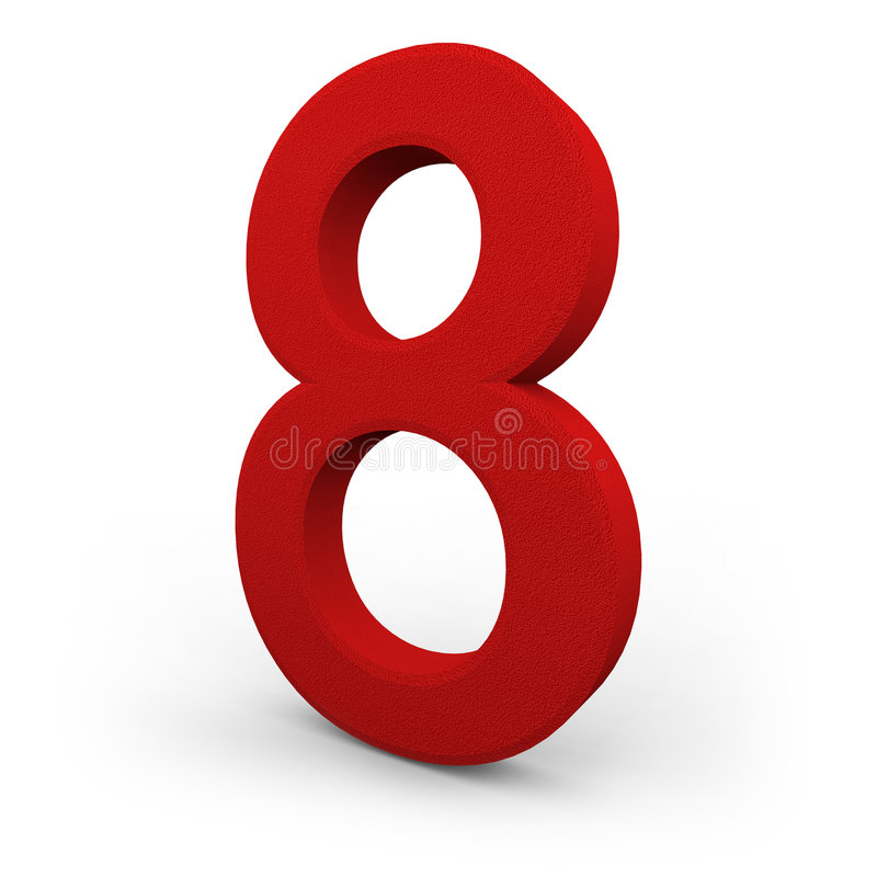 Number Eight on White Background. A red number eight with texture sits on white background stock illustration