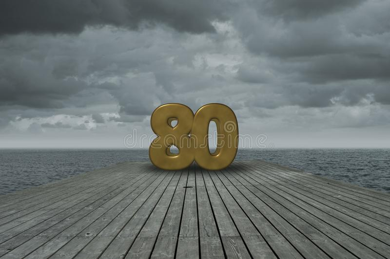 Number eighty. On wooden floor at ocean royalty free stock photo