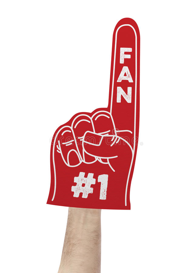 Number 1 fan foam hand stock photography