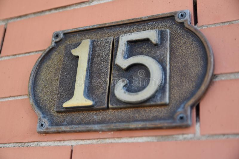 The number fifteen stock photo