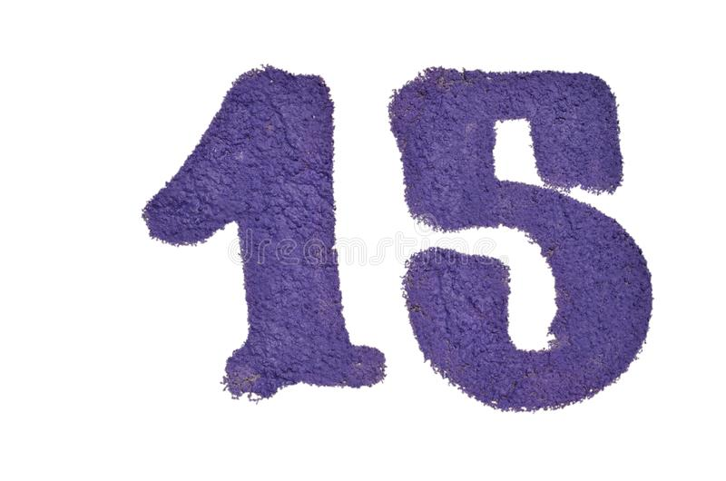 Number fifteen isolated on white background. Number fifteen airbrushed with purple graffiti paint on rough textured concrete wall isolated on white background stock photography
