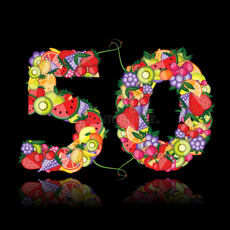 Number fifty made from fruits. Vector royalty free illustration