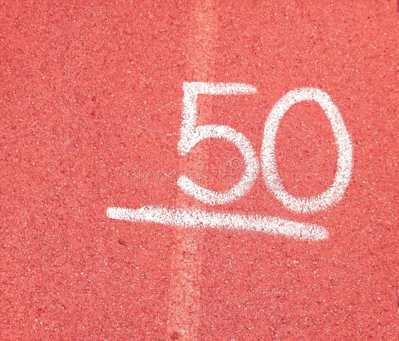 Number 50 fifty on red background royalty free stock images