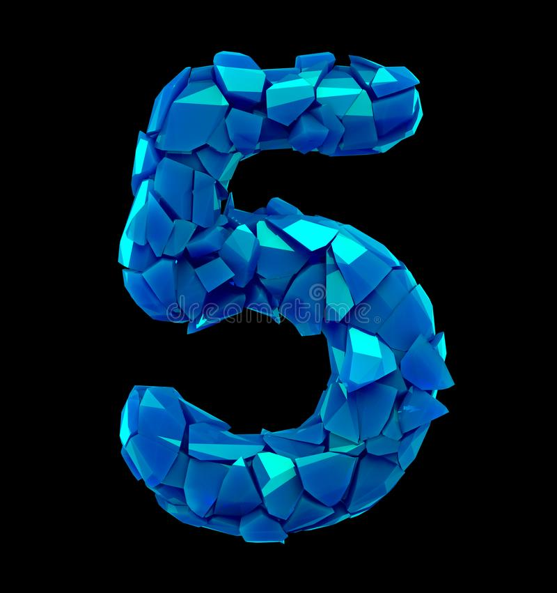 Free Number Five 5 Made Of Broken Plastic Blue Color Isolated Black Background Stock Photo - 123725560