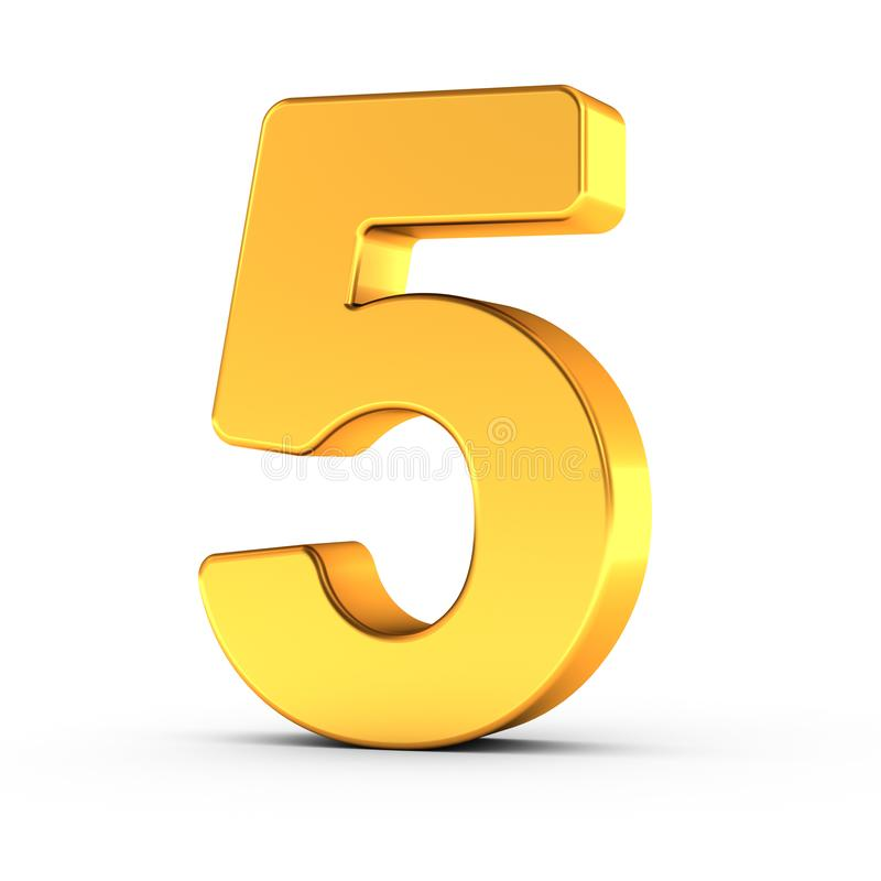 The number five as a polished golden object with clipping path royalty free stock photos