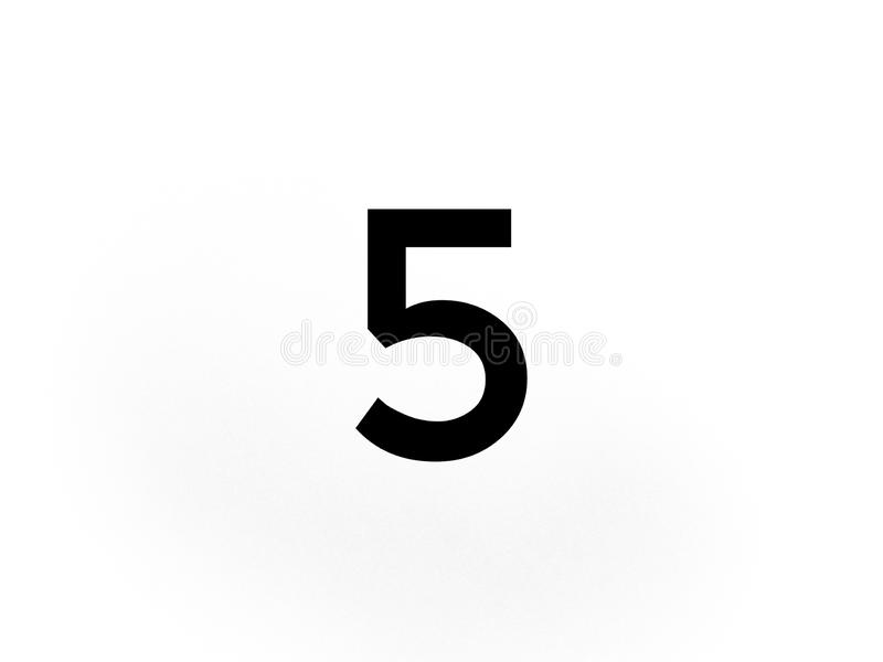 The number 5 five in black color stock image