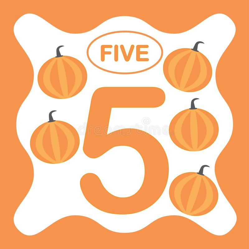 Number 5 five, educational card, learning counting royalty free illustration