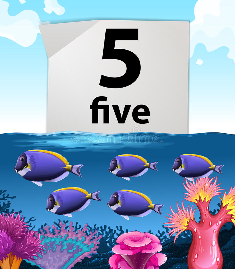 Number five and fish swimming underwater. Illustration stock illustration