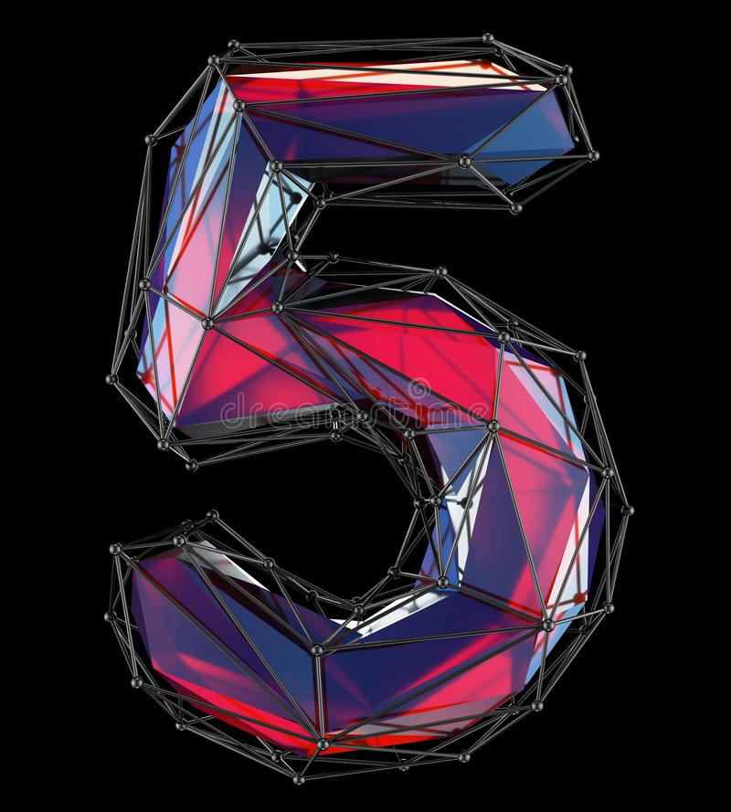 Number 5 five in low poly style red color isolated on black background. 3d vector illustration