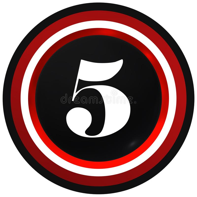 Number five over black sphere with circles vector illustration
