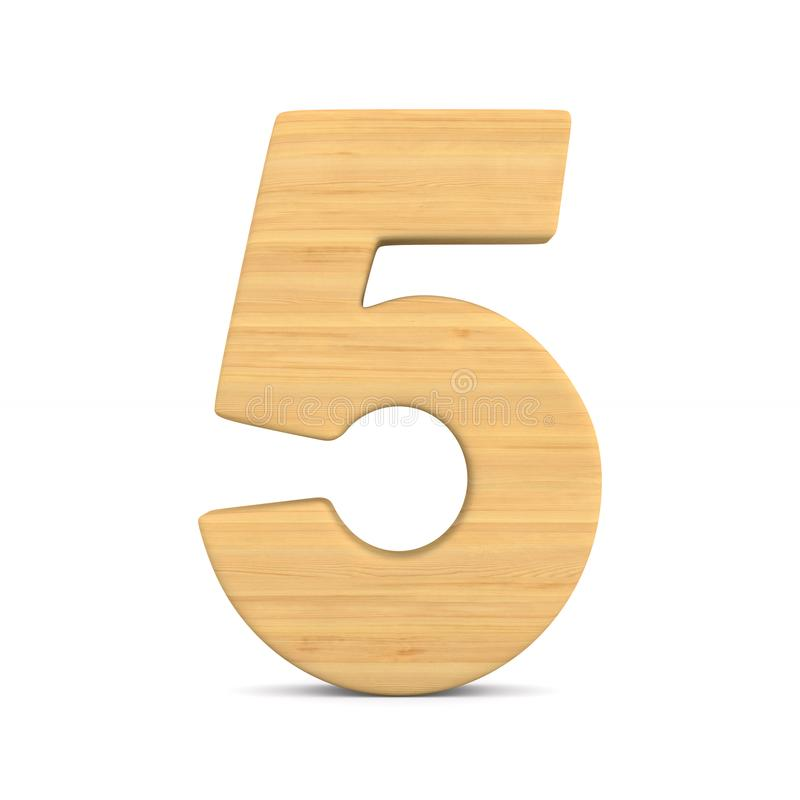 Number five on white background. Isolated 3D illustration.  stock illustration