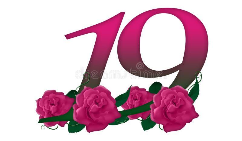 Number 19 Floral Stock Illustration. Illustration Of Color
