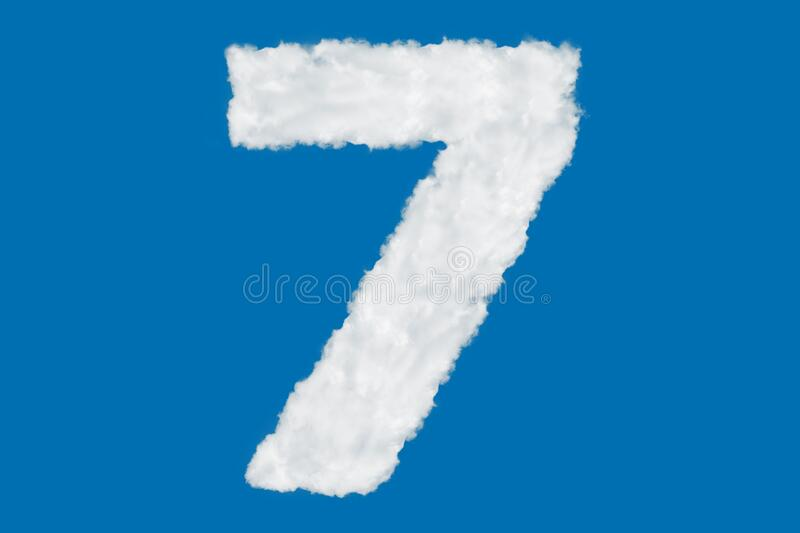 Number 7 font shape element made of clouds on blue. Background over sky royalty free stock images