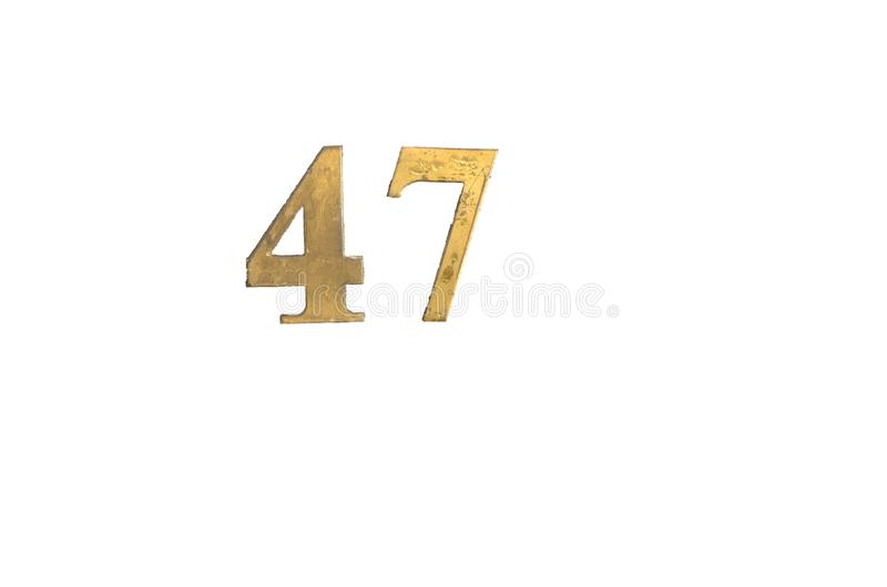 Number forty seven isolated on transparent background. Number forty seven painted with golden color paint on wood isolated on transparent background. Dirty stock image