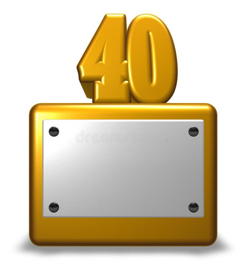 Golden number forty stock illustration