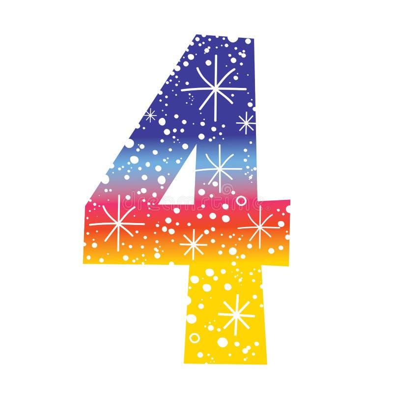 Number four. Decorative celebratory design stock illustration