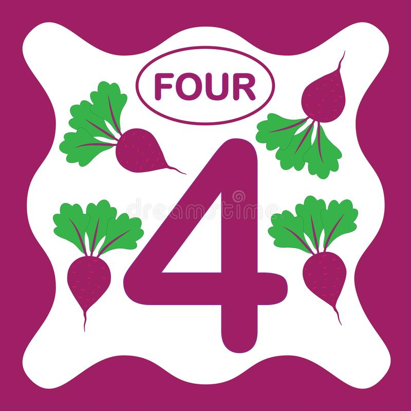 Number 4 four, educational card, learning counting stock illustration