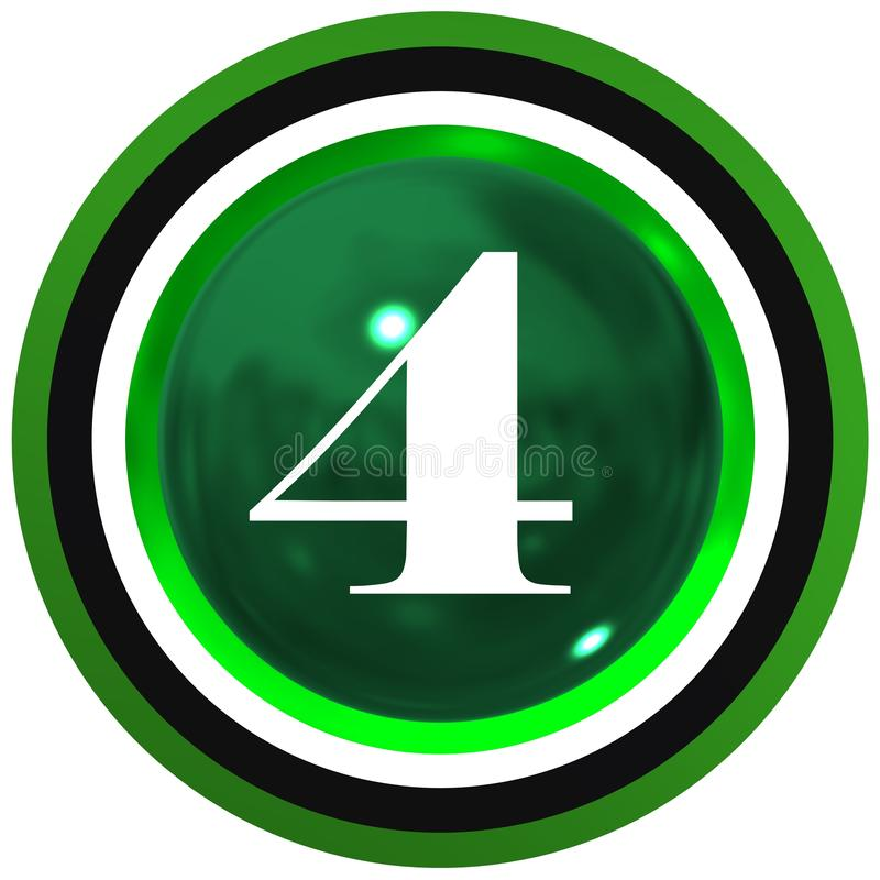 Number four over bright sphere with circles stock photo