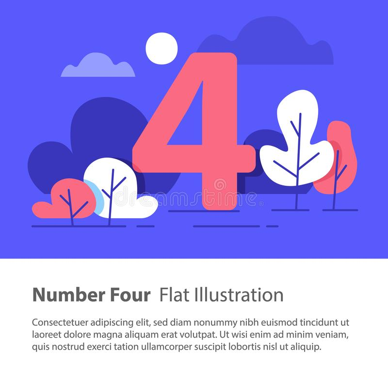 Sequential number, number four, top chart concept, night sky, flat illustration. Number four, top chart concept, sequential number, night sky, park trees, vector stock illustration